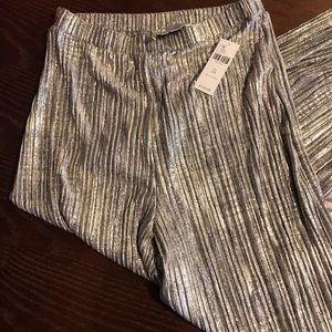 Anthropologie Gold sparkly wide leg fun pants
